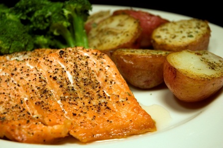 Salmon, Broccoli, Potatoes
