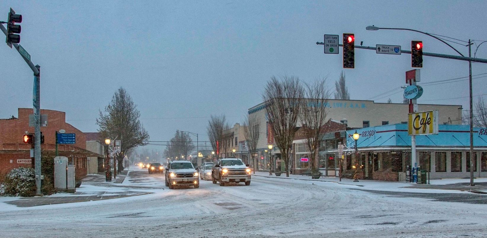 snowy downtown North Bend