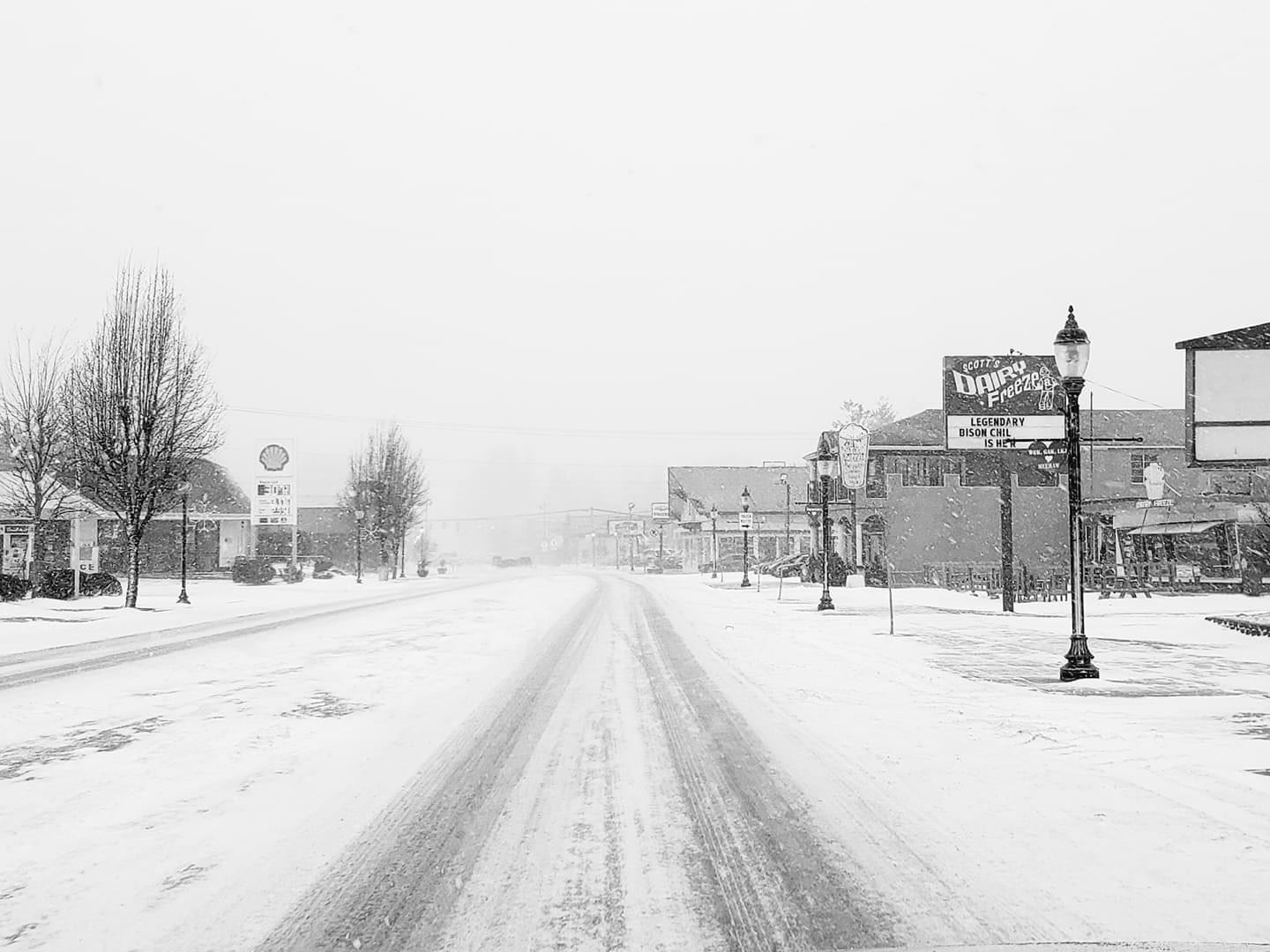 north bend snowy streets