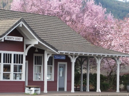 North Bend Train Depot in Spring